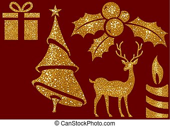 Christmas Glitter Elements on Red Background