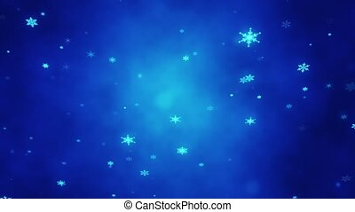 Christmas glittering snowflakes. Festive Christmas background. Artistic intro (introductory template). Christmas, New Year. 3D animation.
