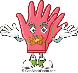 Christmas gloves mascot cartoon character style making silent gesture