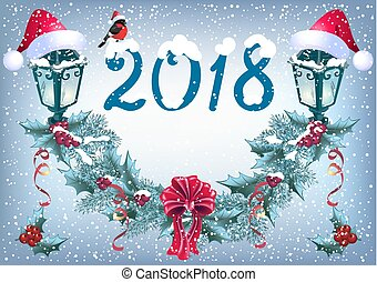 "Christmas glowing lanterns and bullfinch in Santa hat on the snowfall background in retro style with inscription ""2018"" and christmas garland"