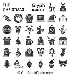 Christmas glyph icon set, celebration symbols collection, vector sketches, logo illustrations, winter signs solid pictograms package isolated on white background, eps 10.