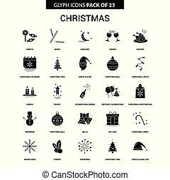 Christmas Glyph Vector Icon set