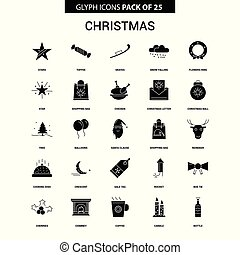 Christmas Glyph Vector Icon set