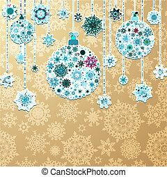 Christmas gold background with baubles. EPS 10