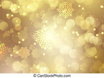christmas gold background with snowflakes and bokeh lights design 2611