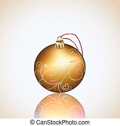Christmas gold ball on white background. Vector