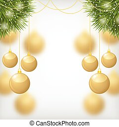 Christmas gold balls hanging on fir