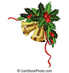 Christmas gold bells holly sprig and berries - Christmas...