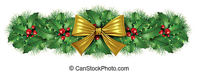 Christmas Gold bow border decoration - Christmas Gold silk...