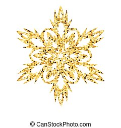 Christmas gold card with snowflake.