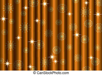 Christmas gold curtain background with snowflakes, EPS10
