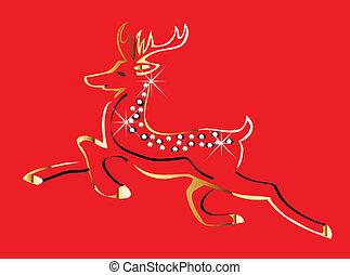 Christmas gold deer card vector
