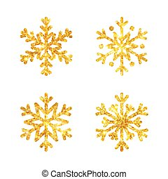 Christmas gold fire snowflakes set isolated illustration