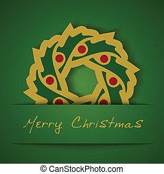 Christmas gold garland applique on green background, vector illustration