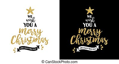 Christmas gold glitter hand drawn holiday quote - Gold merry...