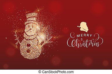 Christmas gold glitter snowman greeting card