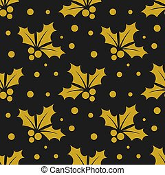 Christmas gold holly berries pattern