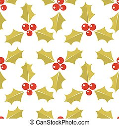 Christmas gold holly seamless pattern