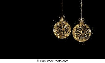 Christmas gold jewelry in motion on a black background