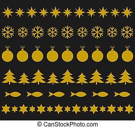 Christmas gold ornament decorative pattern