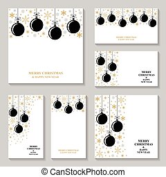 Christmas gold snowflakes and balls card and banner set