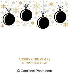 Christmas gold snowflakes and balls card
