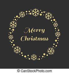 Christmas gold snowflakes wreath