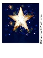 Christmas gold star greeting card