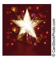 Christmas gold star greeting card
