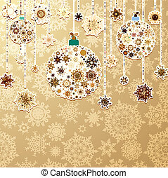 Christmas gold with baubles. EPS 8