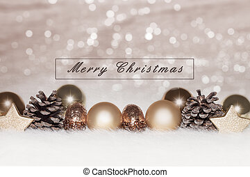 Christmas golden baubles on silver background
