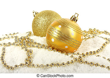 Christmas golden baubles with beads