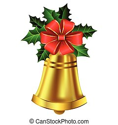 Christmas golden bell holly sprig and bow