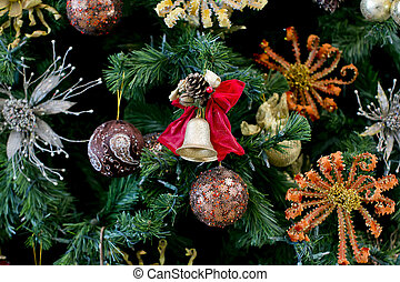 Christmas golden bell on the Christmas tree