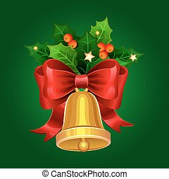 Christmas golden bell with red bow and Holly berries. Vector illustration.