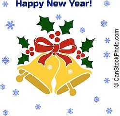 Christmas golden bell with ribbon, silhouette on white background and snowflakes,