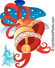 Christmas golden bells on winter background, vector illustration,