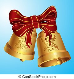 Christmas Golden bells with big red festive bow on insulated layer. Vector image