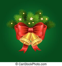Christmas golden bells with red bow and fir branches. Vector illustration.