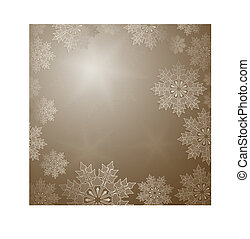 Christmas golden color design with elegant golden snowflakes.