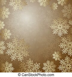 Christmas golden composition with a set of gold color snowflakes,