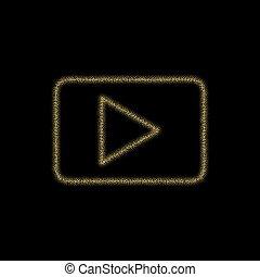 Christmas golden decoration of gold glitter shining sparkles on black background.