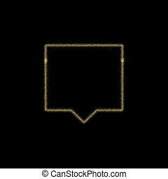 Christmas golden decoration of gold glitter shining sparkles on black background. vector icon of chat, message esp 10