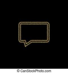 Christmas golden decoration of gold glitter shining sparkles on black background. vector icon Speech Bubbles esp 10