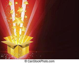 Christmas Golden Gift Box with Stars - Vector - Christmas...
