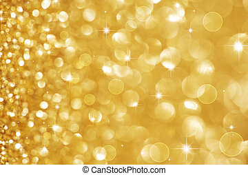 Christmas Golden Glittering background. Holiday Gold abstract texture. Bokeh