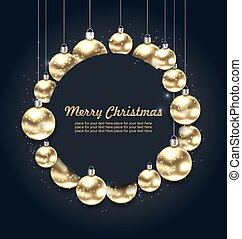 Christmas Golden Glowing Balls with Celebration Card, Dark Background