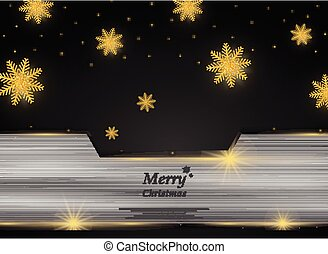 Christmas golden snowflakes on black silver background.