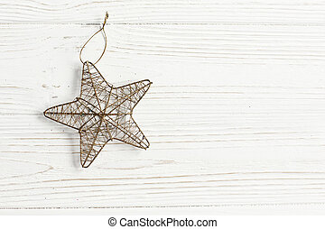 f0c49758bfefc christmas golden star on stylish white rustic wooden background. space for  text. holiday greeting