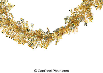 Christmas golden tinsel. Isolated on a white background.